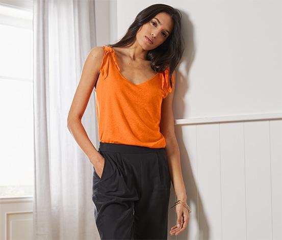 Top s ozdobnými uzly na ramenou, oranžový