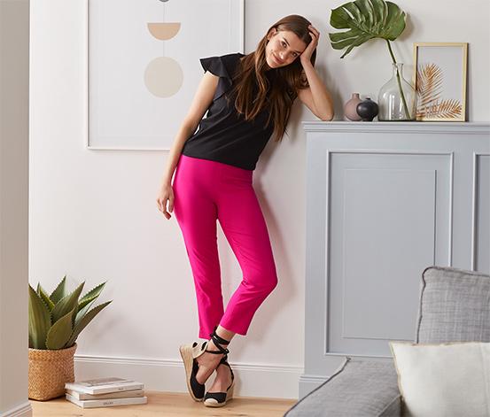 Strečové kalhoty v 7/8 délce, růžové