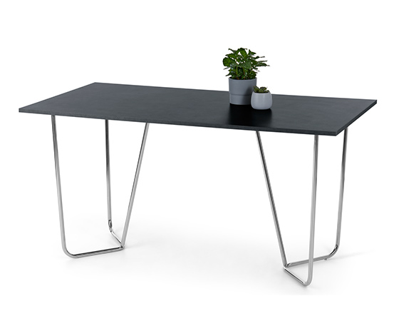 Designový stůl v kamenném vzhledu s kovovou konstrukcí