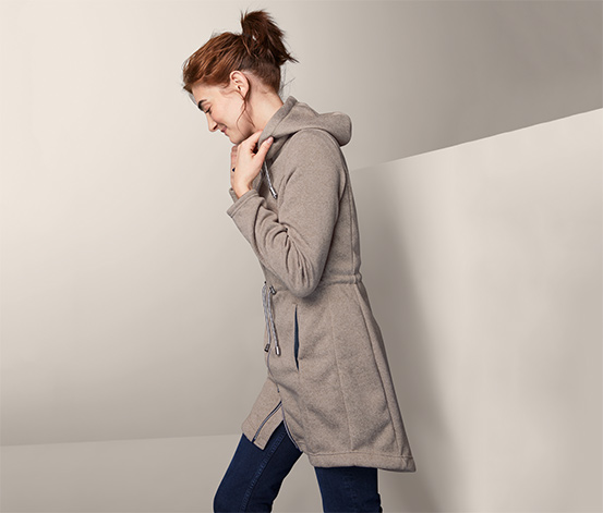 Kabátek z pleteného fleecu s kapucí