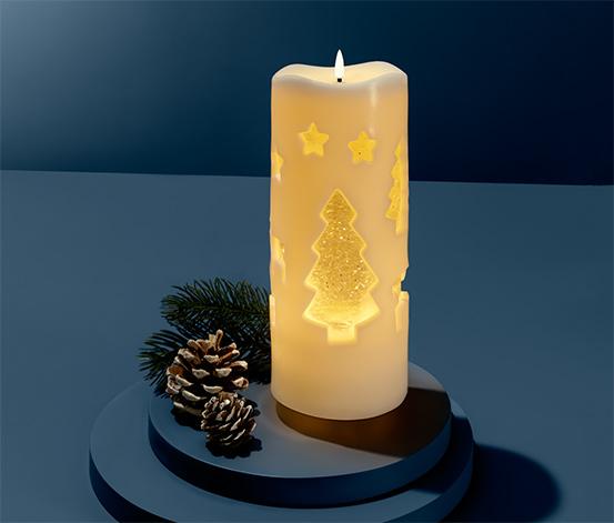 Svíčka s třpytivou vodní výplní a LED