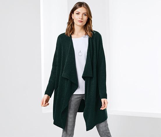 Pletený kabát s bočními kapsami