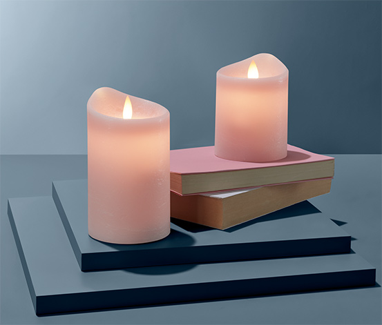 Svíčky z pravého vosku s LED, 2 ks