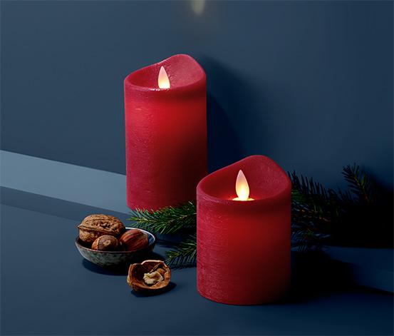 Svíčky z pravého vosku s LED, 2 ks, tmavě červené