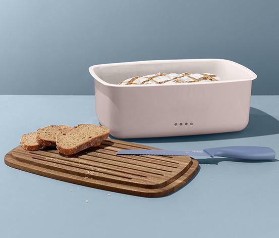 Smaltovaná chlebovka s krájecím prkénkem