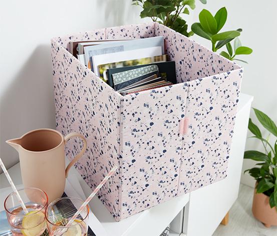 Úložný box s variabilně skládacím víkem, vysoký, růžový, s terazzo potiskem