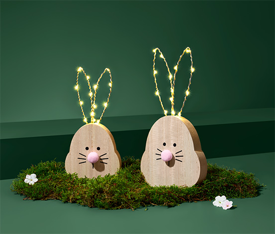 Dekorační zajíčci s LED, 2 ks