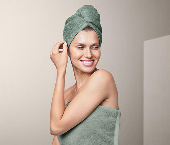 Ručníkový turban, zelený