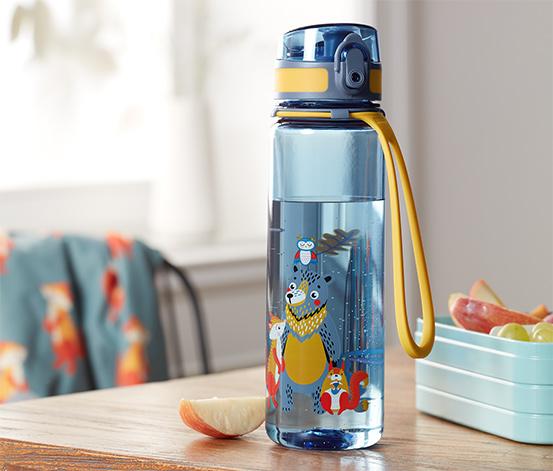Láhev na pití, modro-oranžová s barevným potiskem