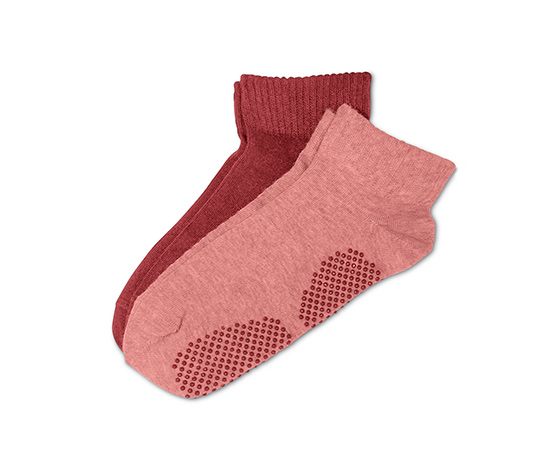 Ponožky na jógu, 2 páry, růžové a červené