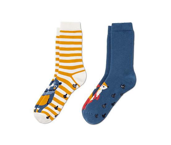 Protiskluzové ponožky, 2 páry, 1x s motivem medvídka, 1x s motivem lištičky