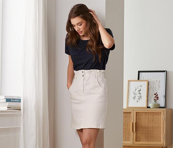 Džínová sukně s pasem ve stylu paperbag