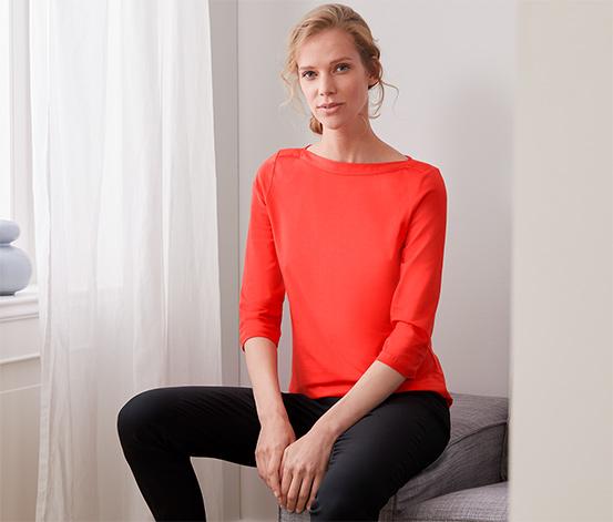 Triko s 3/4 rukávy, oranžově červené