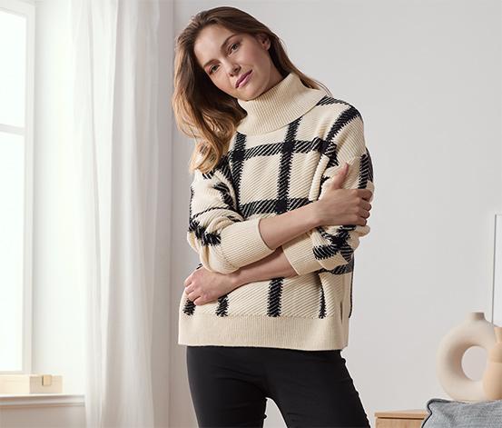 Pletený svetr s rolákovým límcem