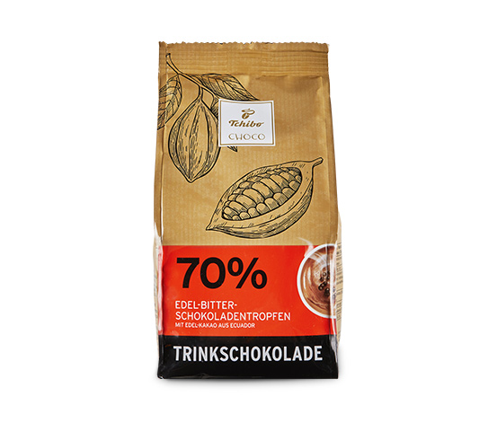 Nápoj z hořké čokolády (kakao: min. 70 %)