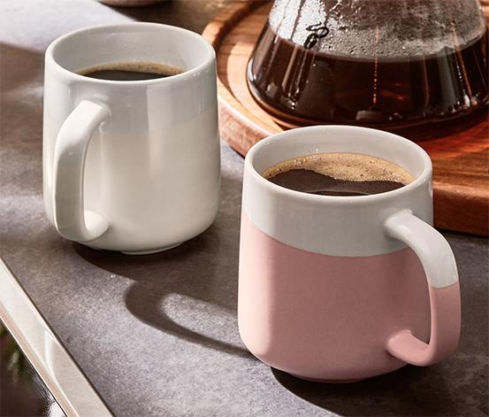 Hrnky na kávu, 2 ks, bílý/růžový